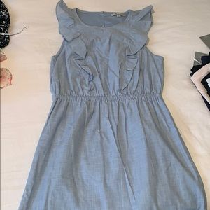 Madewell chambray ruffle front dress